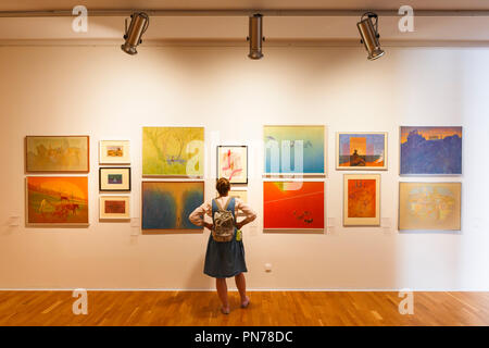 Kosice, Slovakia - August 12, 2018: Visitor to a temporary exhibition of paintings in East Slovak Gallery in Kosice. - Stock Photo