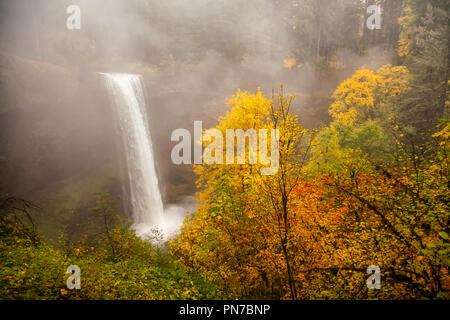 South Falls in autumn in Silver Falls State Park, Oregon with mist - Stock Photo