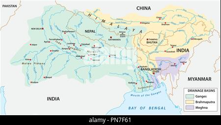 vector Map of the combined catchment areas of the Ganges, Brahmaputra and Meghna rivers. - Stock Photo
