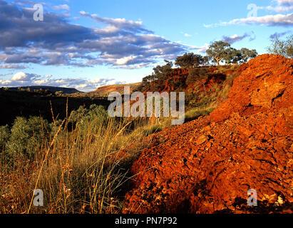 Spinifex Grass and Red Landscape, karijini National Park, Pilbara, Northwest Australia - Stock Photo