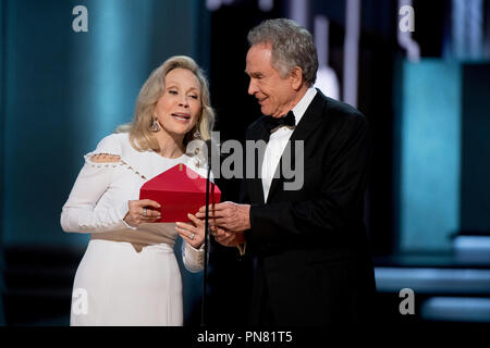 Faye Dunaway and Warren Beatty present during the live ABC Telecast of The 89th Oscars® at the Dolby® Theatre in Hollywood, CA on Sunday, February 26, 2017.  File Reference # 33242 507THA  For Editorial Use Only -  All Rights Reserved - Stock Photo