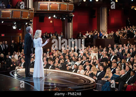 Warren Beatty and Faye Dunaway present during the live ABC Telecast of The 89th Oscars® at the Dolby® Theatre in Hollywood, CA on Sunday, February 26, 2017.  File Reference # 33242 650THA  For Editorial Use Only -  All Rights Reserved - Stock Photo