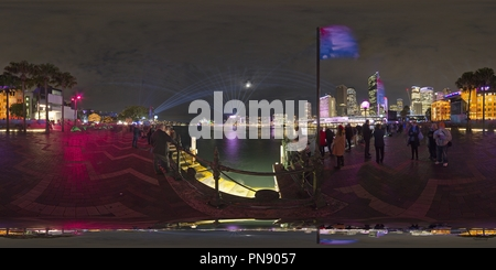 Vivid Night Light Show at Circular Quay, Sydney 2 - Stock Photo