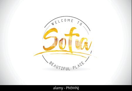 Sofia Welcome To Word Text with Handwritten Font and Golden Texture Design Illustration Vector. - Stock Photo