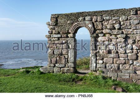 St Patrick's Chapel overlooking the sea at Heysham, Lancashire - Stock Photo