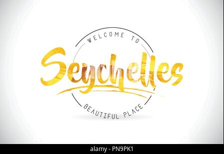 Seychelles Welcome To Word Text with Handwritten Font and Golden Texture Design Illustration Vector. - Stock Photo