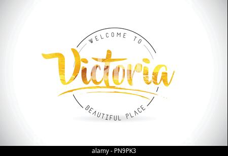 Victoria Welcome To Word Text with Handwritten Font and Golden Texture Design Illustration Vector. - Stock Photo