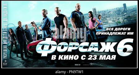 Prod DB © Universal Pictures - Original Film / DR FAST & FURIOUS 6 (FAST AND FURIOUS 6) de Justin Lin 2013 USA affiche russe suite, sequelle, action - Stock Photo