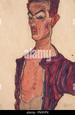 Selbstdarstellung, grimassierend / Self-Portrait, Grimacing. Date/Period: 1910. Drawing. Height: 453 mm (17.83 in); Width: 307 mm (12.08 in). Author: EGON SCHIELE. - Stock Photo
