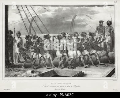 Baie Houa-Houa, Naturels exécutant une danse à bord de l'Astrolabe (Nouvelle-Zélande), [Uawa/Tolaga Bay, Natives Performing a Haka on Board the Astrolabe (New Zealand)]. Date/Period: 1833 - Post 1839. Print. Lithograph by Auguste Raffet lithograph by Auguste Raffet. Height: 365 mm (14.37 in); Width: 550 mm (21.65 in). Author: LOUIS AUGUSTE DE SAINSON. - Stock Photo