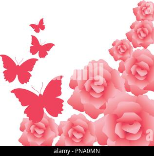 Flowers and butterflies card - Stock Photo