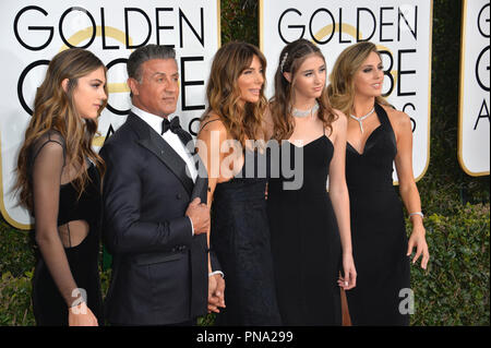 Sylvester Stallone & wife Jennifer Flavin & daughters Scarlet Stallone & Sophia Stallone at the 74th Golden Globe Awards  at The Beverly Hilton Hotel, Los Angeles, CA , USA , January 8, 2017 - Stock Photo