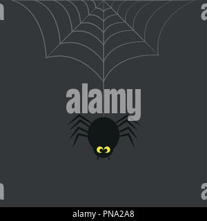 black spider with yellow eyes hangs on cobweb on a grey background vector illustration EPS10 - Stock Photo
