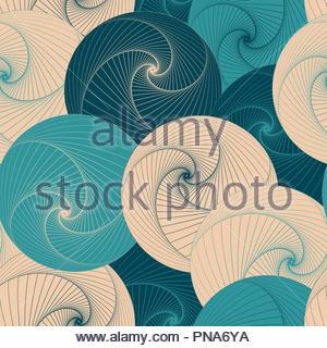 graphic vortex balls seamless pattern in blue shades - Stock Photo