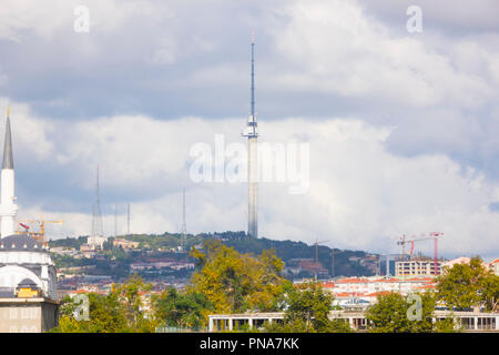 New Radio and Tv Tower at Istanbul Camlica Hill is Under Construction - Stock Photo