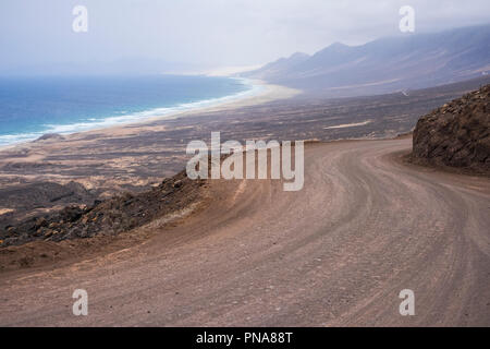 infinite wild beach with nobody there el cofete fuerteventura. paradise for surfers and backpack traveler no asphalt road just ground and adventure. t - Stock Photo