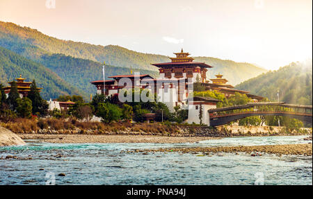 The Punakha Dzong Monastery in Bhutan - Stock Photo