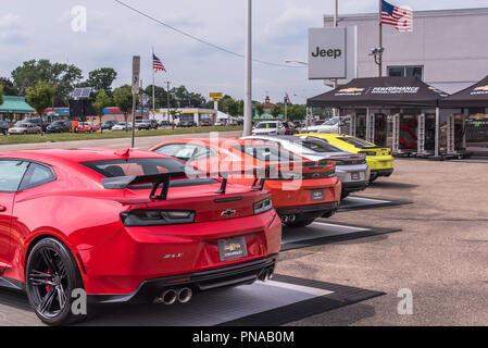 ROYAL OAK, MI/USA - AUGUST 16, 2018: Four 2018 Chevrolet Camaro cars (ZL1, Hot Wheels SS, RS, Turbo AutoX) at the Woodward Dream Cruise. - Stock Photo