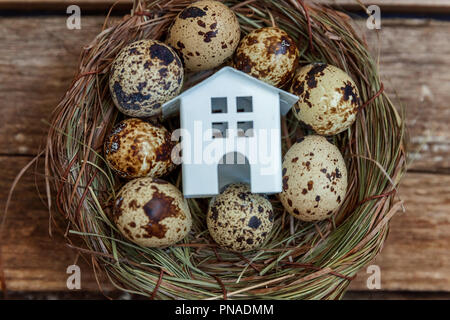 Miniature white toy model house rests in nest with eggs on rustic old vintage wooden background. Eco village environmental real estate mortgage proper - Stock Photo