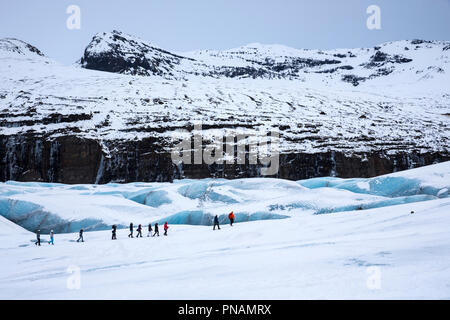 Tourists wearing protective clothing for glacier hike on Svinafellsjokull glacier an outlet glacier of Vatnajokull, South Iceland - Stock Photo