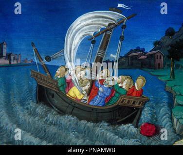 Cristoforo de Predis (1440-1486). Italian miniaturist. Sailing in the Sea of Galilee. Codex of Predis, 1476. Royal Library. Turin, Italy. - Stock Photo