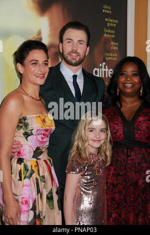Jenny Slate, Chris Evans, Mckenna Grace, Octavia Spencer  04/04/2017 The Los Angeles Premiere of 'Gifted' held at the Pacific Theatres at The Grove in Los Angeles, CA Photo by Izumi Hasegawa / HNW / PictureLux - Stock Photo