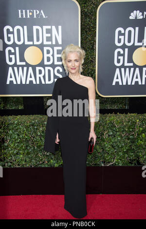 Gillian Anderson arrives at the 75th Annual Golden Globe Awards at the Beverly Hilton in Beverly Hills, CA on Sunday, January 7, 2018. - Stock Photo