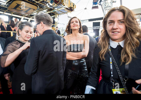 Nominated for BEST PERFORMANCE BY AN ACTRESS IN A TELEVISION SERIES – DRAMA for her role in 'The Deuce,' actress Maggie Gyllenhaal attends the 75th Annual Golden Globes Awards at the Beverly Hilton in Beverly Hills, CA on Sunday, January 7, 2018. - Stock Photo