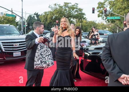 NOMINEE for BEST ORIGINAL SONG -- MOTION PICTURE for 'The Star', Mariah Carey arrives at the 75th Annual Golden Globe Awards at the Beverly Hilton in Beverly Hills, CA on Sunday, January 7, 2018. - Stock Photo