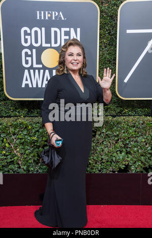 Roseanne Barr arrives at the 75th Annual Golden Globe Awards at the Beverly Hilton in Beverly Hills, CA on Sunday, January 7, 2018. - Stock Photo