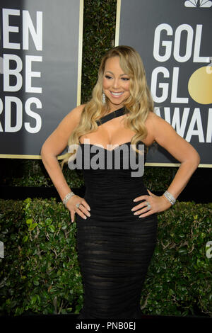 Mariah Carey arrives at the 75th Annual Golden Globe Awards at the Beverly Hilton in Beverly Hills, CA on Sunday, January 7, 2018. - Stock Photo