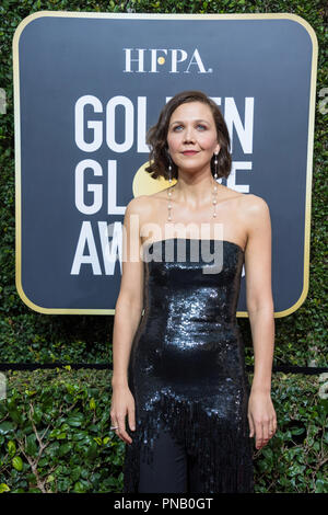 Nominated for BEST PERFORMANCE BY AN ACTRESS IN A TELEVISION SERIES – DRAMA for her role in 'The Deuce,' actress Maggie Gyllenhaal arrives at the 75th Annual Golden Globe Awards at the Beverly Hilton in Beverly Hills, CA on Sunday, January 7, 2018. - Stock Photo