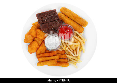 Hot appetizer croutons from rye bread, set of chicken nuggets from meat, cheese sticks in breading, French fries, mayonnaise sauce, tar-tar, ketchup o - Stock Photo