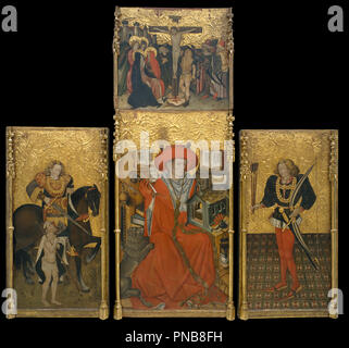 Altarpiece of Saint Jerome, Saint Martin and Saint Sebastian. Date/Period: Ca. 1450. Painting. Tempera, stucco reliefs and gold leaf on wood. Height: 2,364 mm (93.07 in); Width: 920 mm (36.22 in). Author: JAUME FERRER. FERRER, JAUME. - Stock Photo
