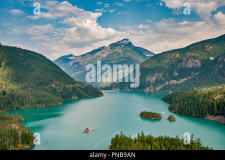 Diablo Lake, Davis Peak, North Cascades Nat Park, view from Diablo Lake Overlook, Skagit River Valley, North Cascades Highway, Washington state, USA - Stock Photo