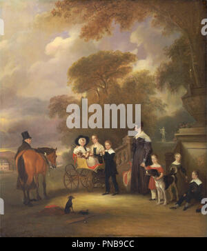 The Rev. and Mrs. Henry Palmer with their six younger children at Withcote Hall, Near Oakham, Leicestershire. Date/Period: 1838. Painting. Oil on canvas. Height: 1,321 mm (52 in); Width: 1,168 mm (45.98 in). Author: John Ferneley. - Stock Photo