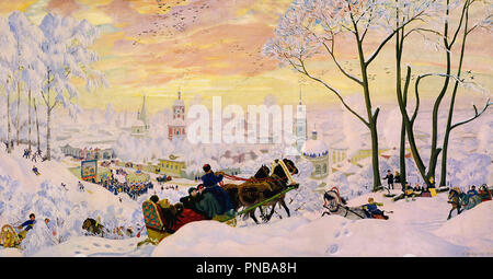 Pancake Week. Date/Period: 1916. Painting. Oil on canvas. Height: 61 cm (24 in); Width: 123 cm (48.4 in). Author: Boris Kustodiev. Kustodiev, Boris Michaylovich. - Stock Photo