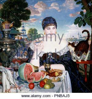 Merchant's Wife at Tea. Date/Period: 1918. Painting. Oil on canvas Oil on canvas. Height: 1,200 mm (47.24 in); Width: 1,200 mm (47.24 in). Author: Boris Kustodiev. BORIS KUSTODIJEW. Kustodiev, Boris Mihajlovic. Kustodiev, Boris Michaylovich. - Stock Photo