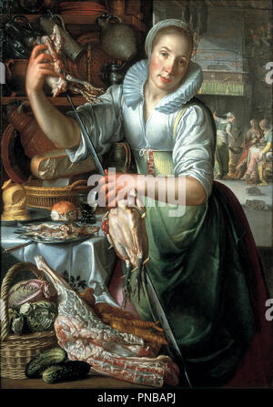The kitchen maid. Date/Period: Ca. 1620 - ca. 1625. Painting. Height: 131 mm (5.15 in); Width: 100.50 mm (3.95 in). Author: JOACHIM WTEWAEL. WTEWAEL, JOACHIM. - Stock Photo