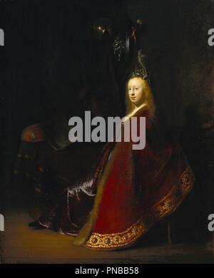Minerva. Date/Period: Ca. 1631. Painting. Oil on oak panel. Height: 60.5 cm (23.8 in); Width: 49 cm (19.2 in). Author: REMBRANDT, HARMENSZOON VAN RIJN. Rembrandt van Rhijn. - Stock Photo