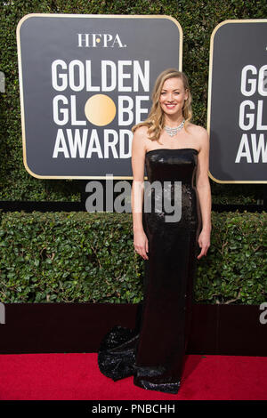 Yvonne Strahovski arrives at the 75th Annual Golden Globe Awards at the Beverly Hilton in Beverly Hills, CA on Sunday, January 7, 2018. - Stock Photo