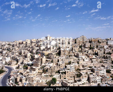 Birdview of Amman the capital of Jordan in the Middle East - Stock Photo