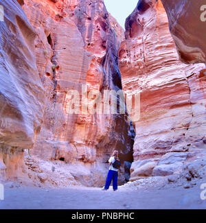 PETRA,JORDAN-SEPTEMBER 12,2015: The Siq, the narrow slot-canyon that serves as the entrance passage to the hidden city of Petra, Jordan - Stock Photo