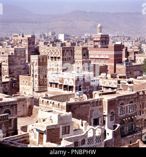 The Old city of Sanaa, capital of Yemen - Stock Photo