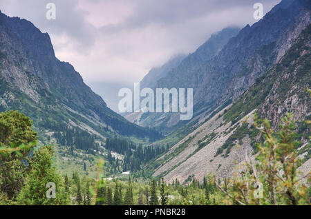 beautiful summer mountains , Ala-archa national park in Bishkek, Kyrgyzstan - Stock Photo