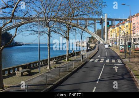 Porto, Portugal - January 17, 2018: Ponte da Arrabida Bridge in Porto, Portugal - Stock Photo