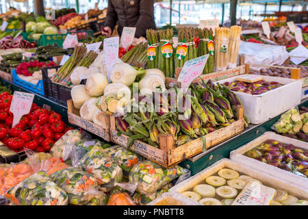 Venice, Italy - March 22, 2018: Vegetables at Rialto market in Venice - Stock Photo