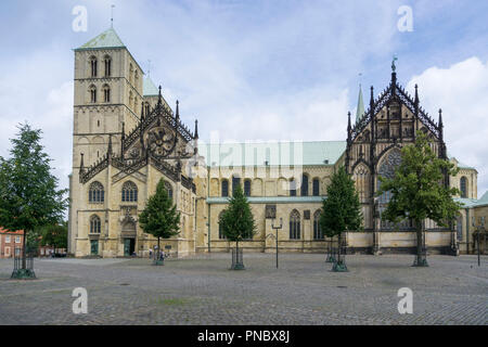 Cathedral, Münster, Münsterland, North Rhine-Westphalia, Germany, Europe - Stock Photo