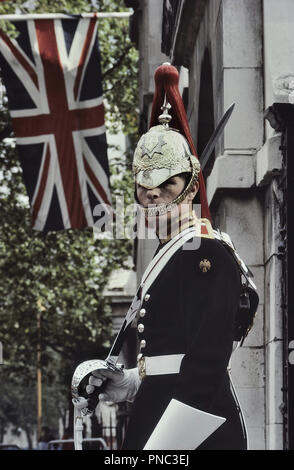 The Queen's Blues and Royals guard, Horse Guards, London, England, UK. Circa 1980's - Stock Photo