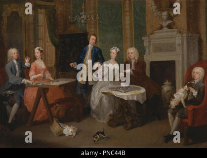 Portrait of a Family. Date/Period: Ca. 1735. Painting. Oil on canvas. Height: 533 mm (20.98 in); Width: 749 mm (29.48 in). Author: William Hogarth. - Stock Photo